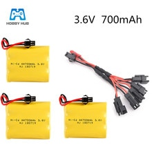 Hobby Hub 3.6v 700mah Battery with 5in1/usb cable rechargeable battery for RC boat car electric toys