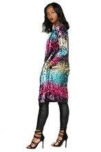 Laser Symphony Jersey Jacket Iridescent Sequin Hologram Blouse Coat Bar Club Sexy Costume Long Jacket Women Men Swagger