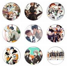 1 pièces Manga Haikyuu!! Cosplay Badges Hinata Shoyo broches 58mm japon Anime Collection Badge pour sacs à dos vêtements