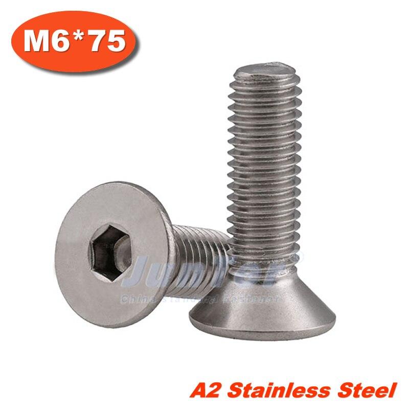 10pcs/lot DIN7991 M6*75 Stainless Steel A2 Flat Socket Head Cap Screw