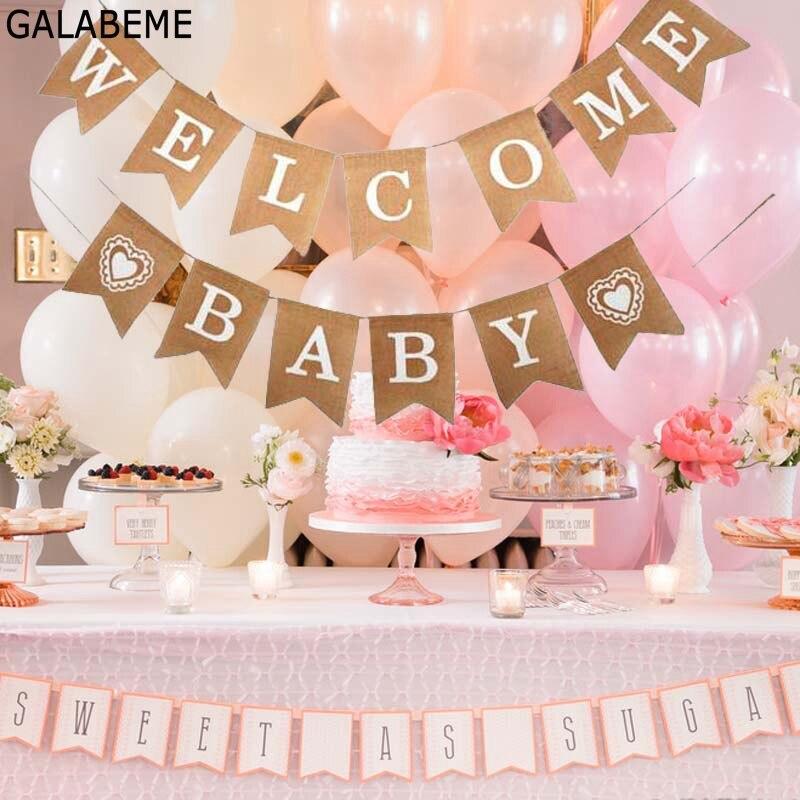 Galabeme, 1 комплект, добро пожаловать, детский баннер, флаги, праздничная гирлянда для мальчиков, детский душ, бандаж, для мальчиков, для первого ...