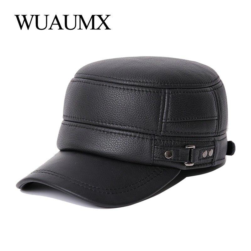Wuaumx-قبعات عسكرية من جلد البقر للرجال ، قبعة بغطاء أذن ، قبعة من جلد البقر ، قبعة مسطحة للرجال