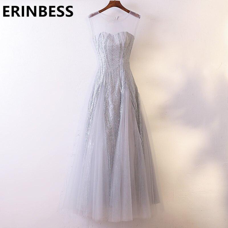 Hot Selling Scoop Neck Lace Appliques Silver Mermaid Evening Dresses Sashes Prom Gowns 2019 Women Party Gowns Vestido De Festa