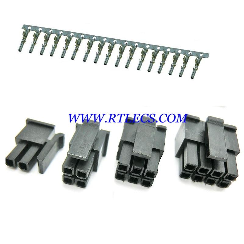 1000 Uds Micro-Fit 3,0mm conector, doble fila hombre vivienda de 2x1 2 Pin 4 6 8 10 12 14 16 18 20 22 24 Pin/Terminal hembra