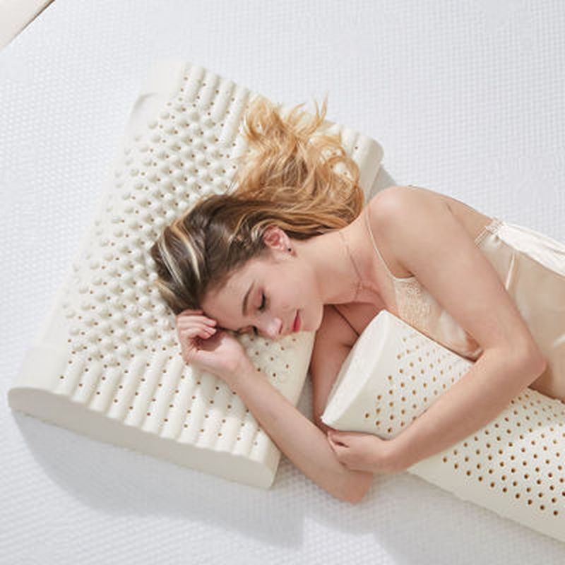 Almohada de látex Natural de 50x30cm para dormir almohada masaje Cervical cuidado de cabeza y cuello almohada de memoria U1183