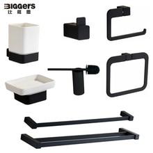 Livraison gratuite nouveau design moderne couleur noire salle de bain accessoires ensemble porte-papier serviette anneau porte-savon porte-serviettes porte-serviettes