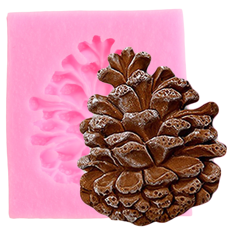 Molde de Fondant de silicona de cono de nueces de pino molde de caramelo de Chocolate pasta de goma herramientas de decoración de tartas de Navidad pastelería de cocina bricolaje para hornear