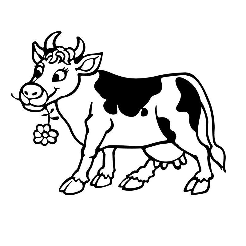 Популярная Милая Наклейка на стену с изображением коровы из мультфильма, украшение для дома, виниловая выдолбленная Настенная Наклейка с ж...