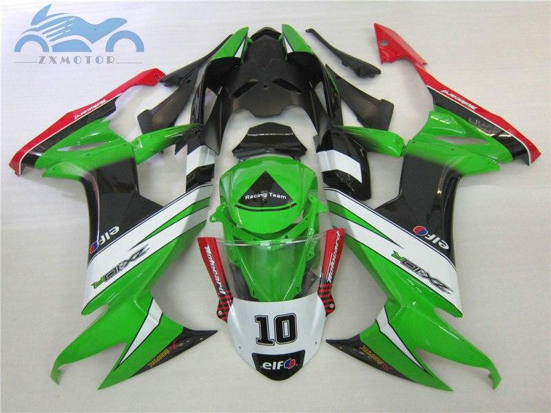 تخصيص fairings عدة ل كاوازاكي نينجا ZX10R 2008 2009 2010 ABS سباق هدية مجموعة ZX 10R 08 09 10 الأخضر أسود الجسم أجزاء