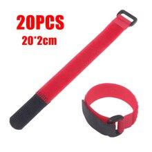 Mayitr 20 pièces 20cm rouge auto-adhésif Nylon attache sangle réutilisable crochet boucle câble attaches cordon organisateur