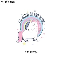 zotoone cute unicorn patches for girl clothing iron on transfers letter parches for children clothes diy appliques heat press d