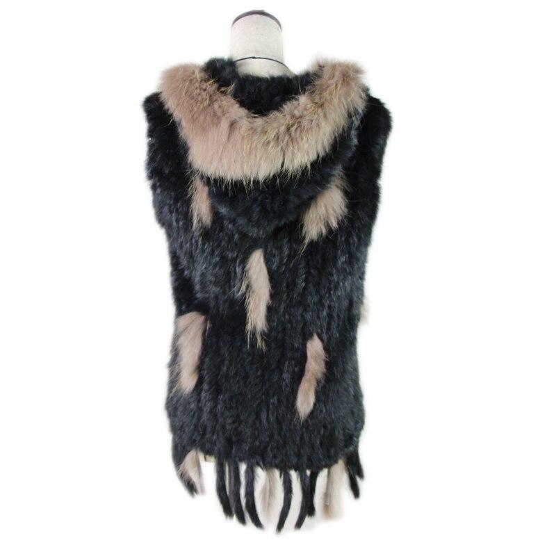 fashion rabbit fur vest raccoon fur trimming knitted rabbit fur vest with hood fur waistcoat gilet фото