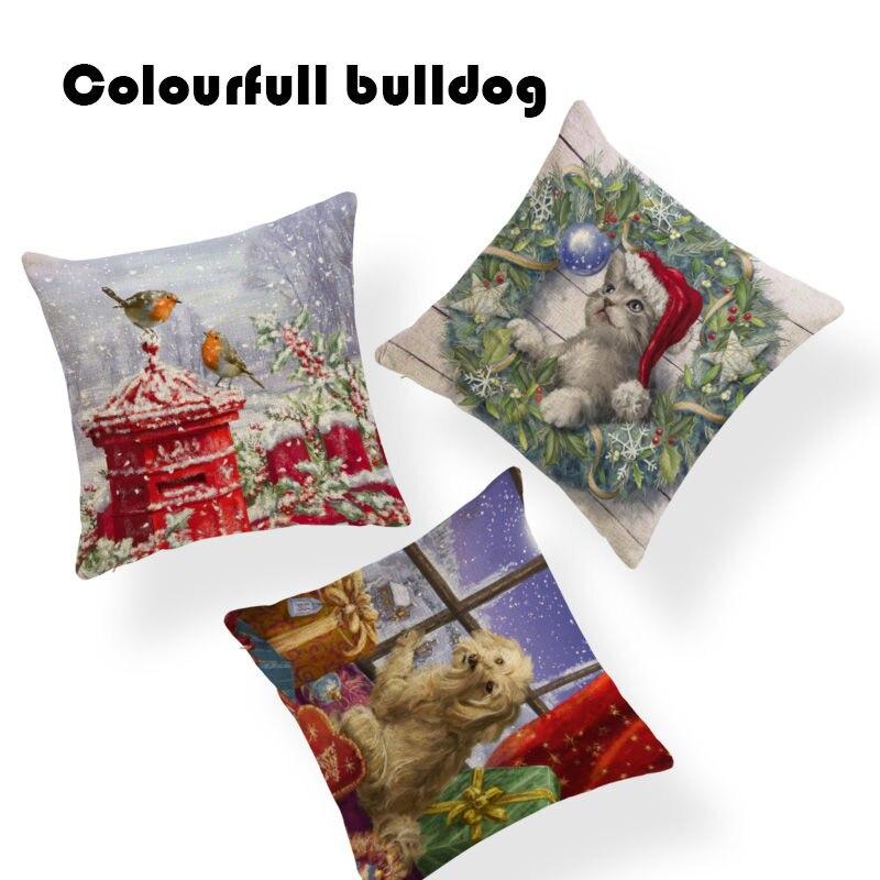 Regalos de Navidad de fundas para cojines con diseños navideños escandinavo cama 45X45Cm de almohadas para decoración de hogar cardenales aves almohada cubre