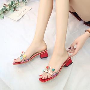 women shoes rivet slippers women transparent slides casual mules summer high heels PVC rubber slippers beach bling