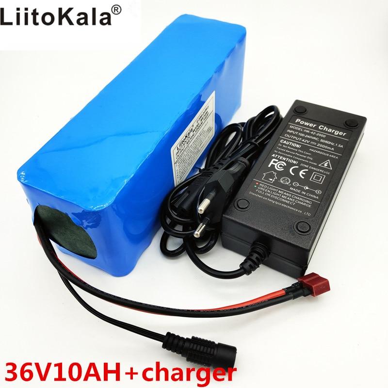 LiitoKala 36 v 10Ah 10S3P 18650 batería recargable, motocicleta modificada, cargador de batería de vehículo eléctrico li-lon + 36V 2A char