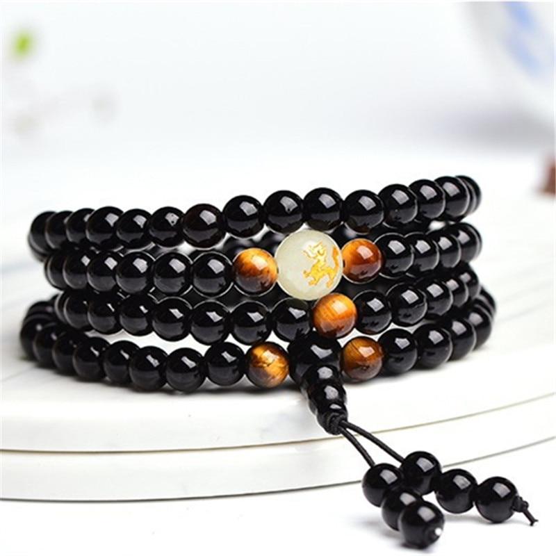 Yoga Black Onyx Men 6mm 108 Beads Strand Bracelets Luminous Natural Stones Tiger Eyes Buddha Mala Bracelet For Women Jewelry