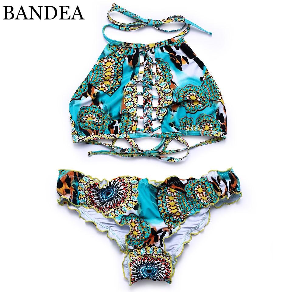 BANDEA-bikini con cuello alto para mujer, traje de baño con cuello sexy...