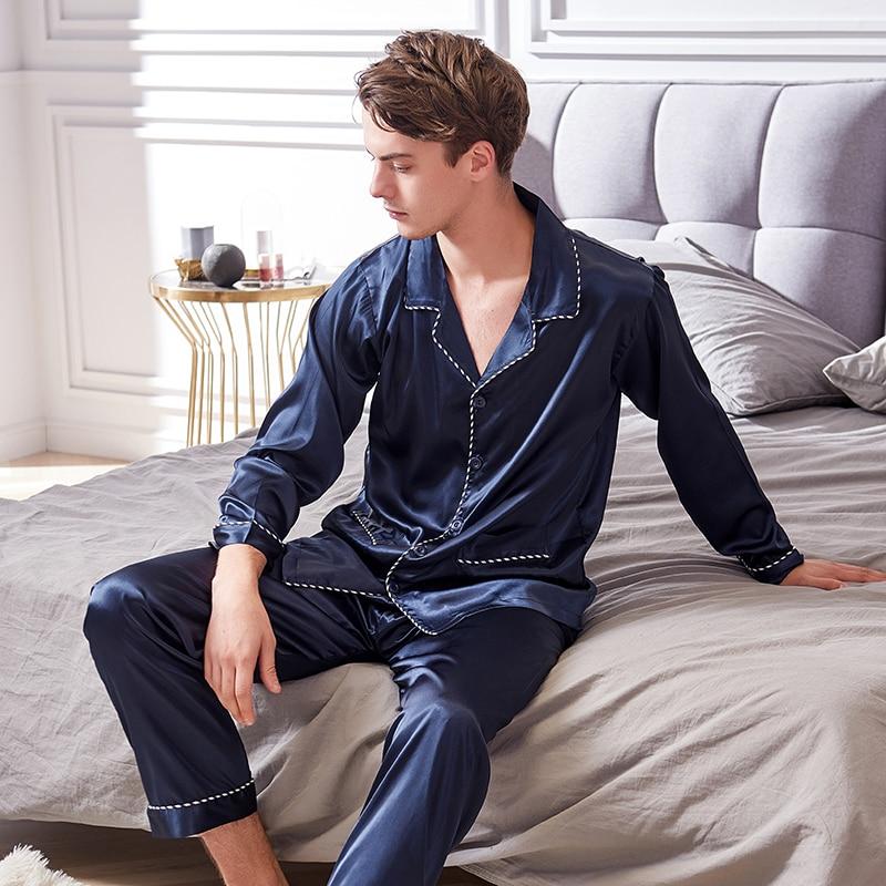 Xifenni искусственный шелк пижамы 2020 весна осень новинка шелк лед шелк одежда для сна мужская с длинным рукавом темно-синий пижама комплекты 9001