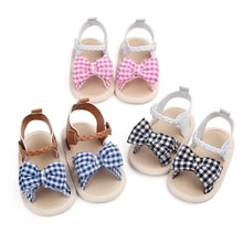 Sommer Baby Schuhe Weiche Sohle Plaid Anti-slip Blume Muster Krippe Schuhe Leinwand Erste Wanderer