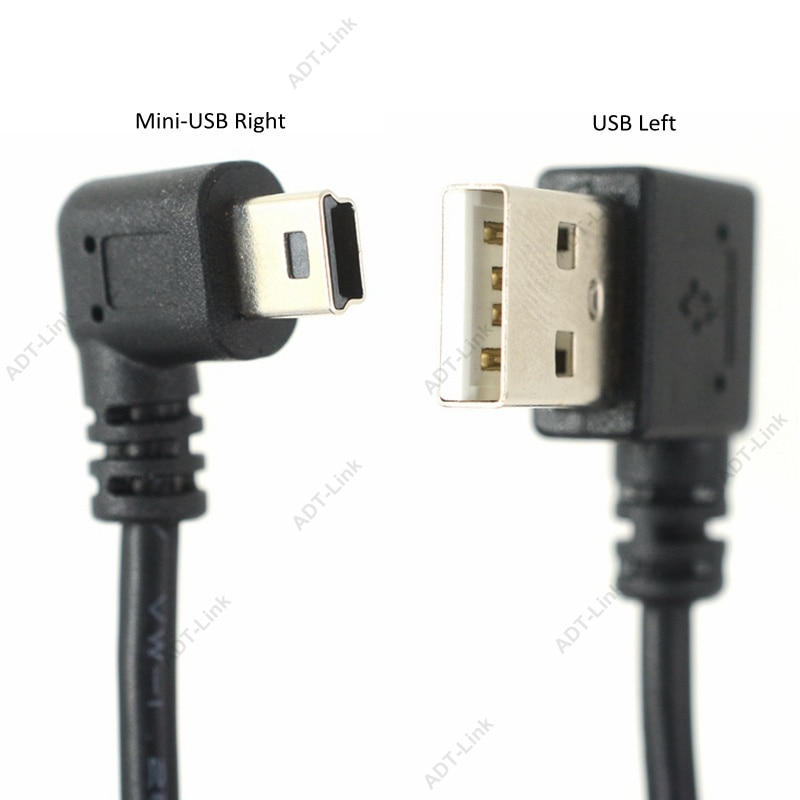Cable de datos Mini USB 10 pulgadas 90 grados USB ángulo recto niquelado USB corto 2,0-A-Male-4Pin a ángulo recto Mini-B-5Pin 25cm