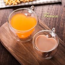 Romantyczne serce podwójna ściana szklany kubek kochanka kufle do piwa kreatywny poranek szklanka z mlekiem szklanka do soku ciepła wytrzymały kubek kieliszek