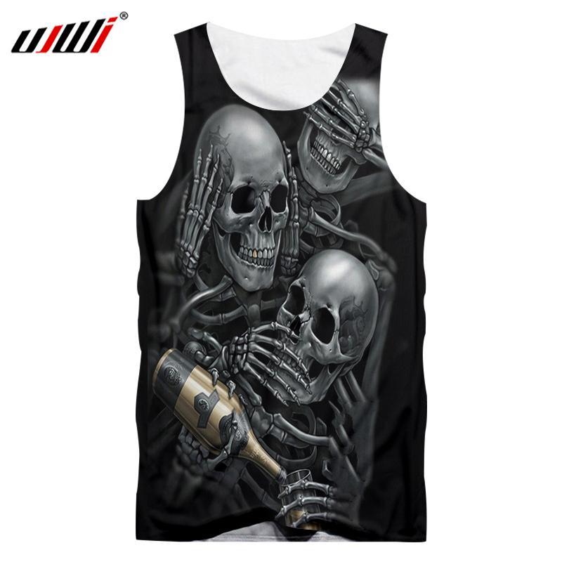 UJWI 2019 hombres de moda estampado divertido cráneos de esqueleto bebida Champagne 3D Tank Top camisetas para hombre Hip Hop Punk camisetas sin mangas