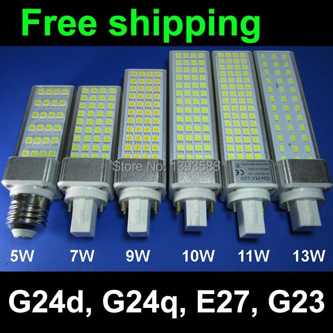 Poder Real 2 pines g24d-1 g24d-3 g24d-3 led Bombilla PL lámpara 5W 7W 9W 10W 11W 12W 13W 14W cc conductor SMD5730 2835 luz led AC85-265V