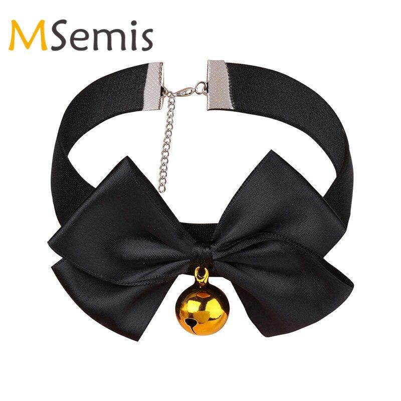 MSemis Mulheres Sexy Bow Knot Moda Ajustável Macio Fita Arco Sino Collar Gargantilha Colar para Meninas Gay Vestido Pescoço Jóias presente