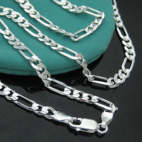4 мм 16-30 дюймов длинная цепочка ожерелье из стерлингового серебра 925 пробы Фигаро Ожерелье для мужчин ювелирные изделия змея цепь звено цепи ...