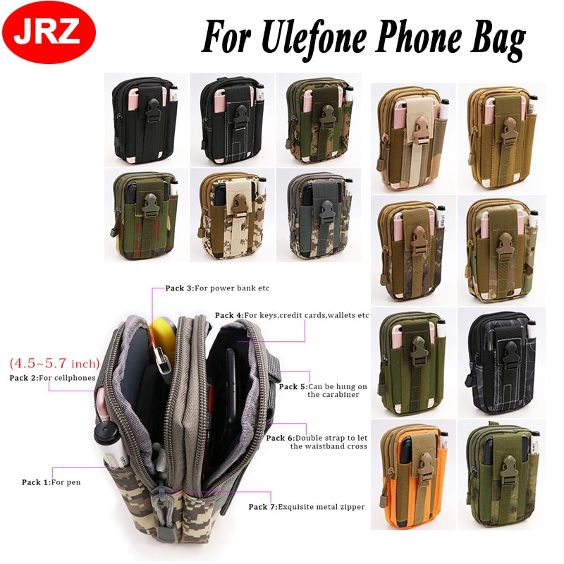 Teléfono Universal al aire libre para Ulefone Power 5 Armor 2 S8 Pro Mix 2 Paris camuflaje bolsa deporte cinturón gancho funda de cintura