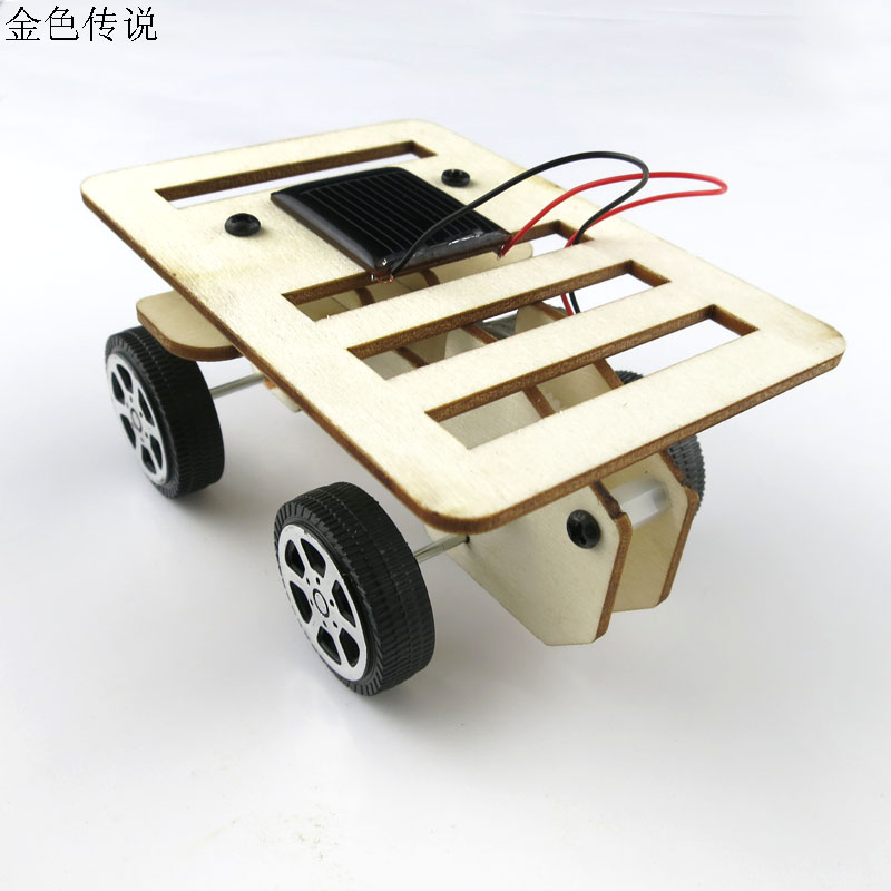 Nuevo Modelo de Auto-montaje DIY Mini coche de madera Kit de energía Solar 4WD Robot inteligente Chasis de coche RC juguete 100*70*50mm F17931