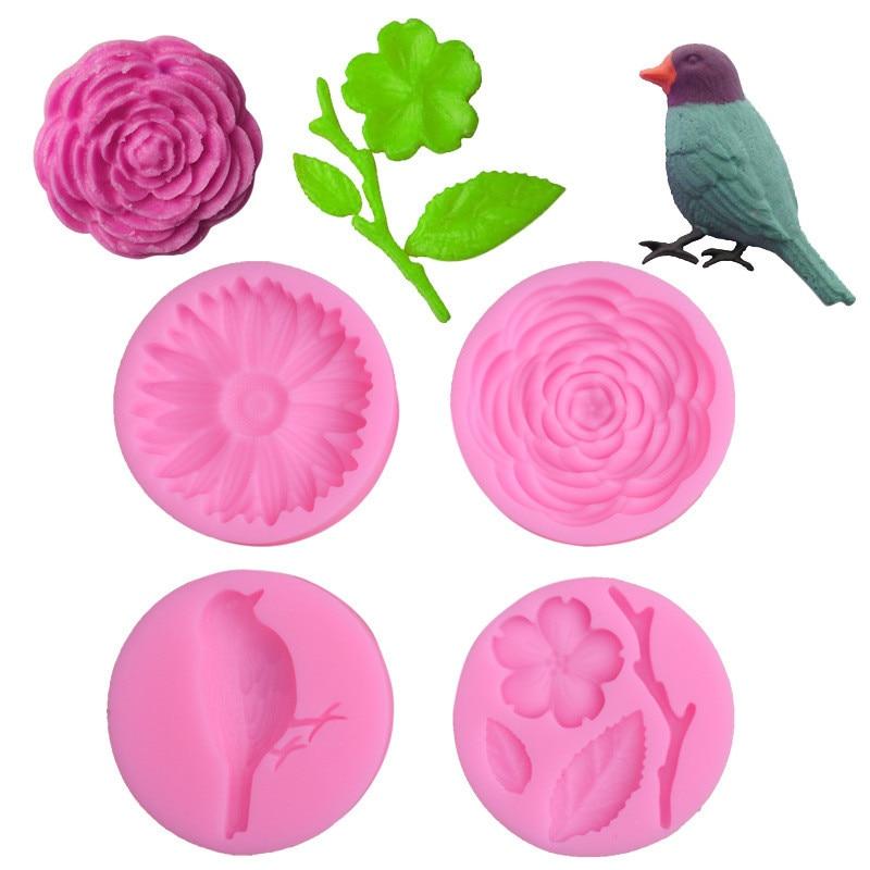 TTLIFE Flower Bird Baking Silicone Mold Cake Decoration DIY Fondant 3D Chocolate Mold for Confectionery wedding Cake Sugarcraft