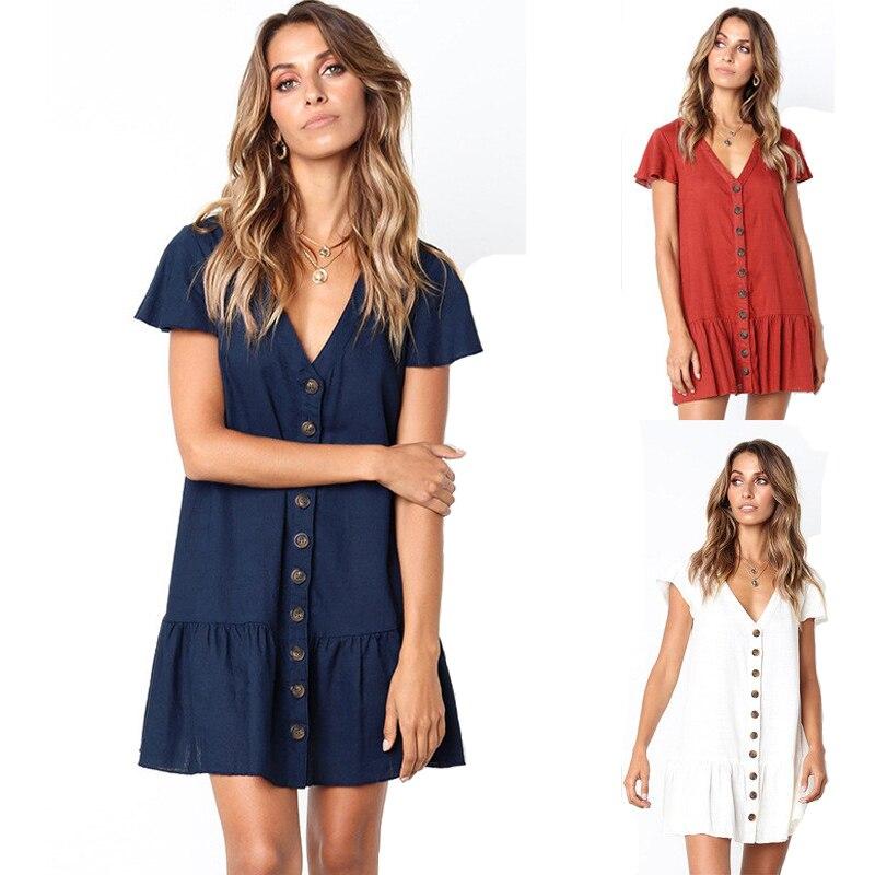 Volante plisado Mujer vestido de verano 2020 Sexy cuello pico botones de lino corto Mini Vestidos una línea suelta vestido Casual