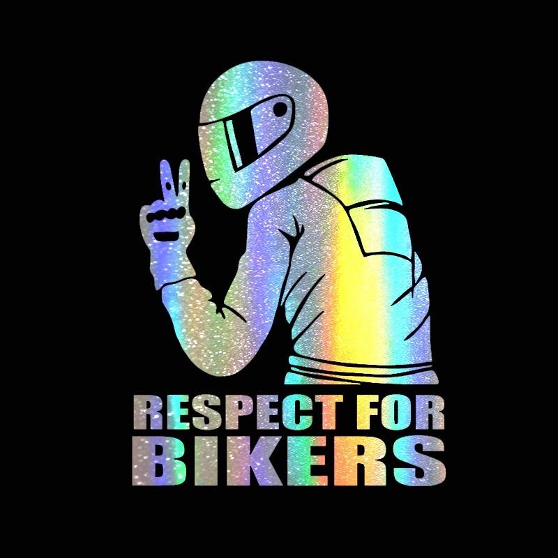 Pegatina de coche 3D 14x19CM respeto por los ciclistas pegatina divertida en el coche de la motocicleta calcomanías Vinly Car Styling