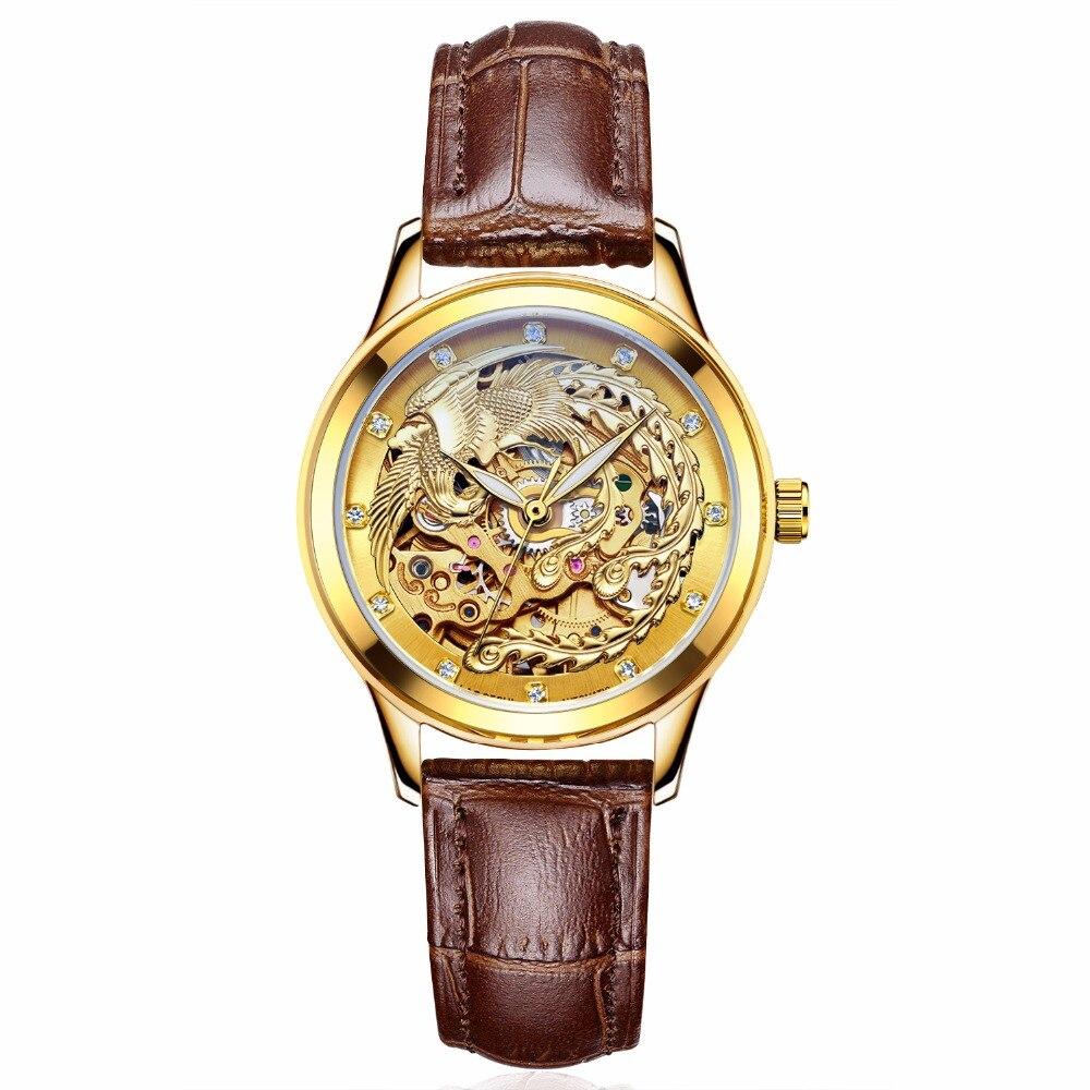 Relojes de marca de lujo para mujer, relojes mecánicos automáticos para mujer, reloj mecánico Fénix Dorado, reloj a prueba de agua Senhoras assitter