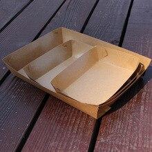 Boîte de livraison en papier kraft BBQ   Grande taille de 100 pièces, plateau en papier pour chien chaud/BBQ, boîte à Dessert et Dessert de poulet frit écologique, paquet daliments de fête