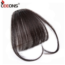Leeons Light Brown/Dark Brown Synthetic Fake Bangs Hair Clips For Women Heat Resistant Hair Bang Extensions Hair Fringe