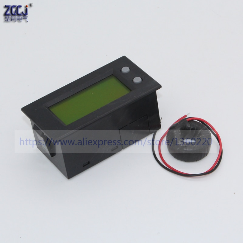 Pantalla LCD CA 80-300 V, CA 0-100A amperio, voltaje, frecuencia, medidor de potencia visible A V Hz VA Monitor
