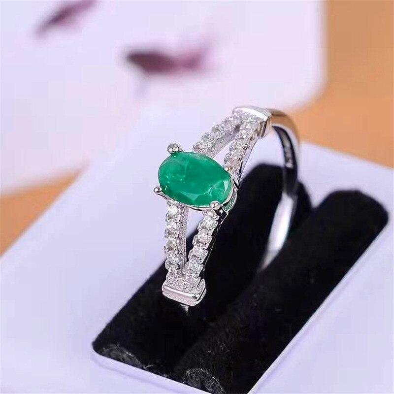 Joyería fina, oro perfecto, anillo de Esmeralda verde de grado más alto perfecto para mujeres, anillo de boda de 4*6mm