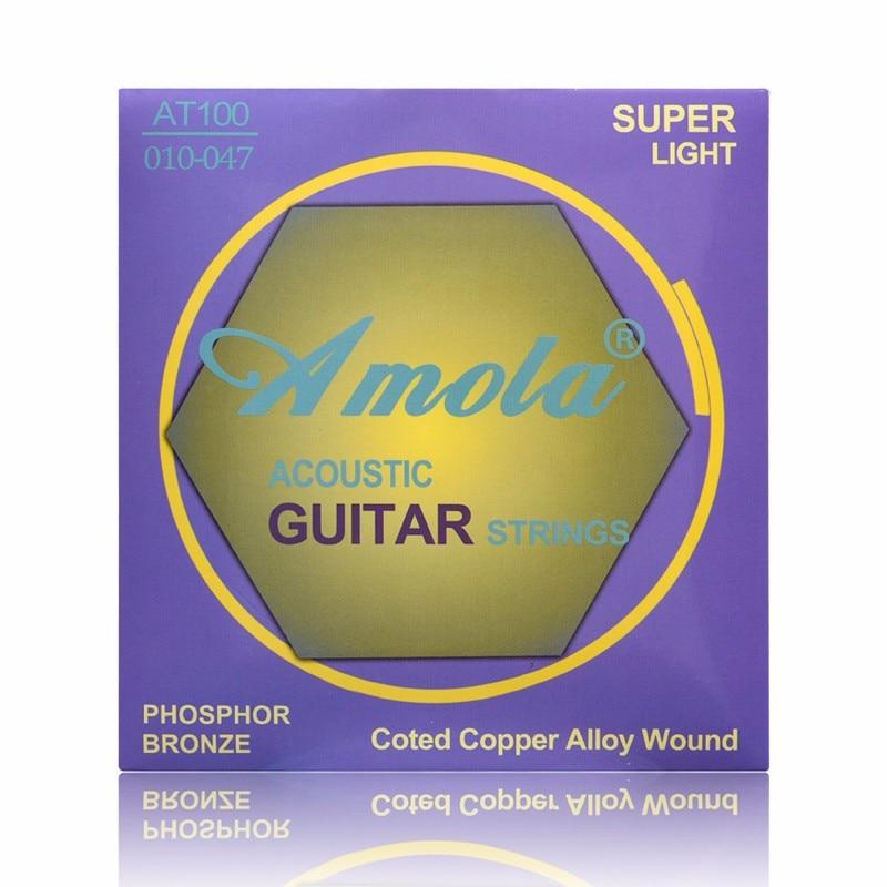 Original Amola. 010-047 AT100 cuerdas de guitarra acústica cuerdas de bronce de fósforo para accesorios de guitarra acústica partes música