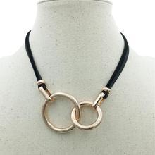 Alliage croix Double cercles collier en cuir noir chaîne pendentif accessoires bijoux de mode pour les femmes