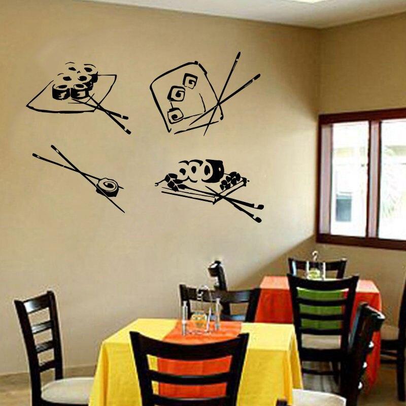 Calcomanías de vinilo para pared Diseño Mural rollos de Sushi palillos japoneses Sushi Bar restaurante comida japonesa Wasabi Rolls K52