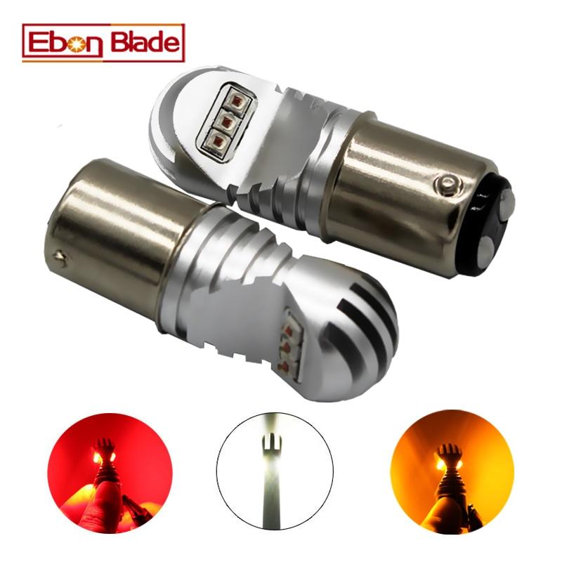 Светодиодные лампы Canbus 1157 BAY15D XBD, 2 шт., 30 Вт, 12 в-24 в, белые, янтарные, красные, автомобильные лампы P21/5 Вт, CANBUS OBC, без ошибок