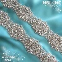 10 yardswholesale bridal hand beaded silver crystal rhinestone applique trim iron on for wedding dress sash belt wdd0688