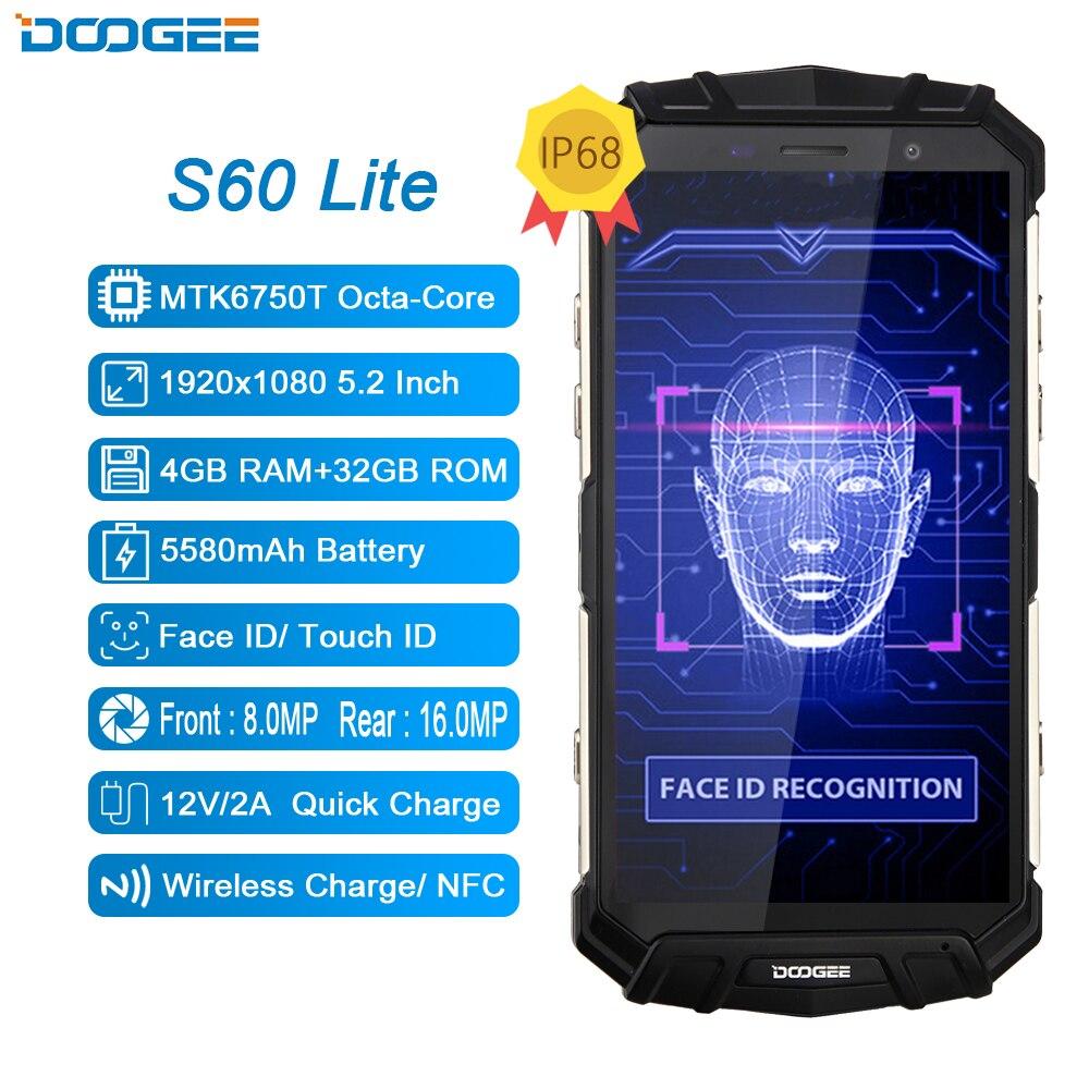 DOOGEE S60 Lite 4G Handy IP68 Wasserdichte MTK6750T Octa Core 4GB + 32GB Android 7,0 NFC drahtlose Lade 5,2 Inch Handy