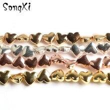 En gros Golds coeur forme hématite pierre lâche perles despacement pour la fabrication de bijoux collier de bracelet à bricoler soi-même 5x6mm 68 pcs/lot 15 pouces