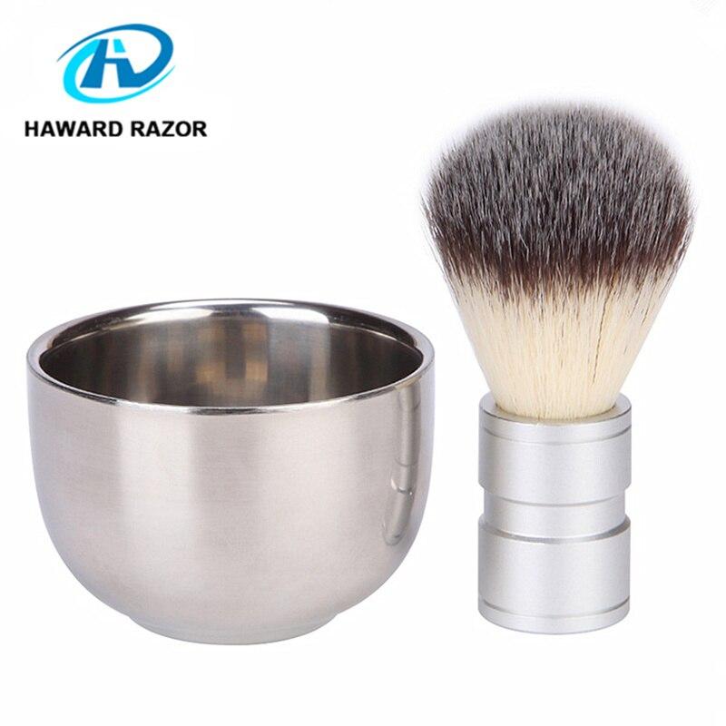 HAWARD Synthetische (nylon) Haar Rasierpinsel männer Bart Pinsel Metall Griff Rasieren Schaum Pinsel Barber Razor Pinsel