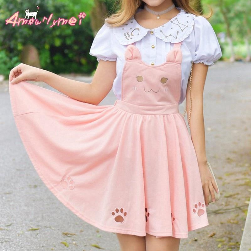 Verano Mujer falda Lolita Kawaii gato bordado princesa Correa falda lindo estilo japonés falda Mori para chica Suspender falda Vestido