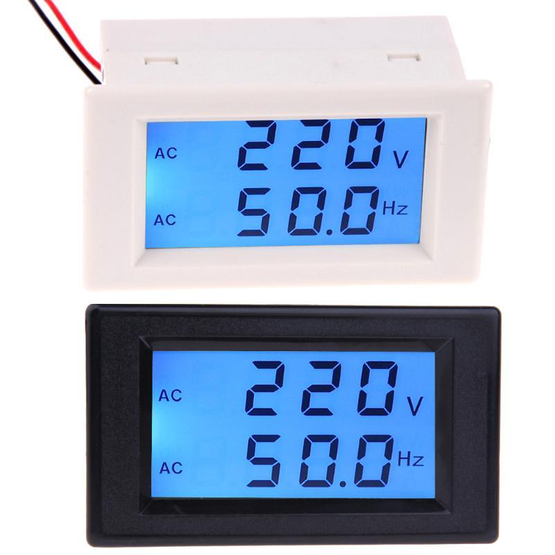 Medidor de frecuencia de voltaje de pantalla Dual Digital LCD, medidor de voltaje AC 80-300V voltímetro 45,0-65,0Hz, medidor de frecuencia con retroiluminación azul