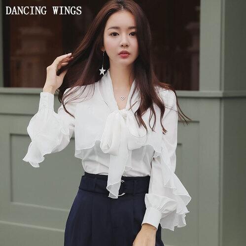 Blusa blanca de chifón estilo OL de alta calidad camisa cuello con lazo volantes blusas y blusas de manga larga para mujer